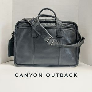 Canyon Outback Black Leather Briefcase